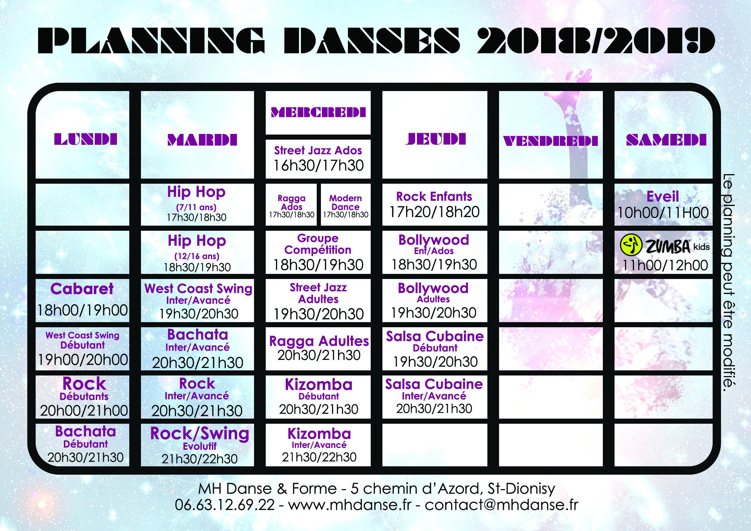 planning danse & fitness